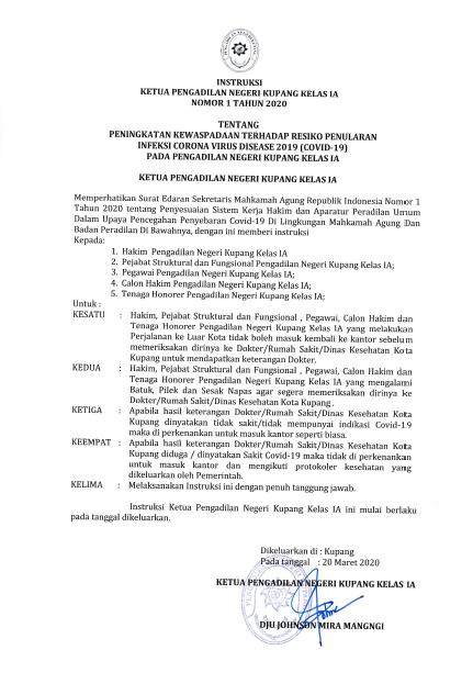 Instruksi Ketua Pengadilan Negeri Kupang Kelas 1A Nomor 1 Tahun 2020
