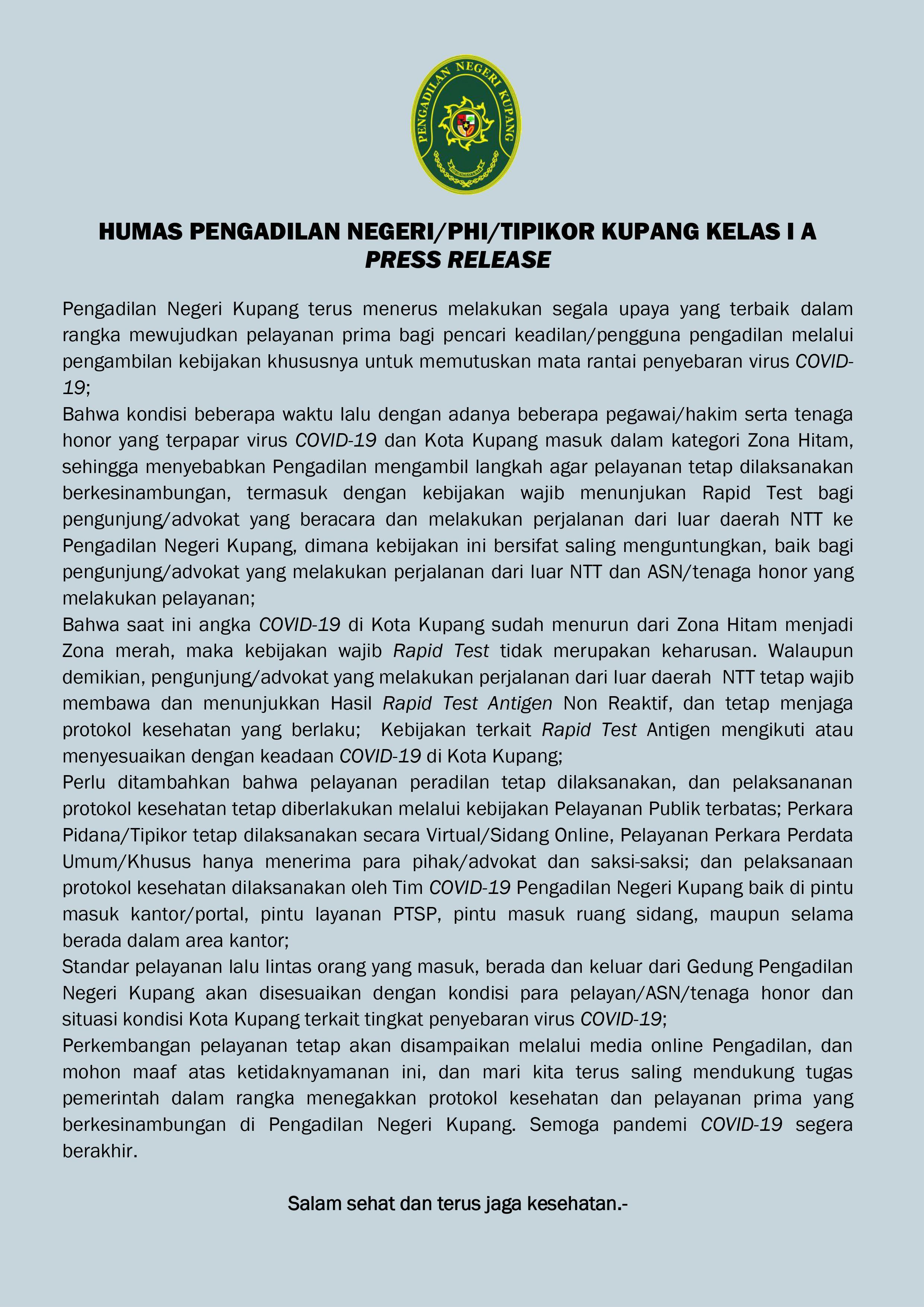 Press Release Humas Pengadilan Negeri Kupang